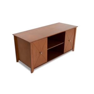 """46"""" Wide Credenza, Solid Wood and Veneer In A Walnut Finish, Accommodates Most 50"""" and Smaller Flat Panels"""