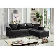 See Details - BLACK SECTIONAL CHAISE