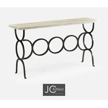 Whitewash Driftwood Console with Circular Wrought Iron Base
