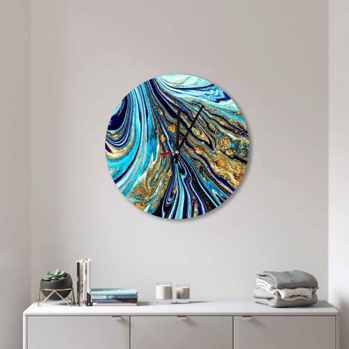 Grako Design - Royal Blue Gold Abstract Paint Round Square Acrylic Wall Clock