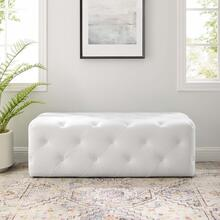 "Amour 48"" Tufted Button Entryway Faux Leather Bench in White"
