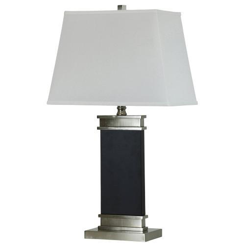 Product Image - Black Steel Table Lamp with White Rectangular Shade