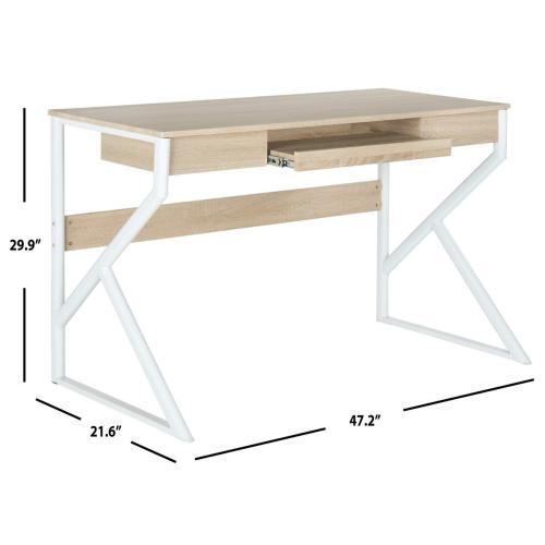 Bryant Computer Desk - Natural Top / White Legs
