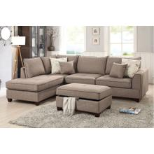 Mocha Reversible Chaise Sectional with Storage Ottoman Included
