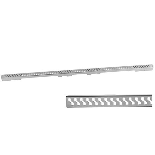 """Product Image - Brushed Stainless - Slim 48"""" Channel Drain """"S"""" Grate"""