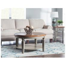 Round Coffee Table in Hickory & Stone
