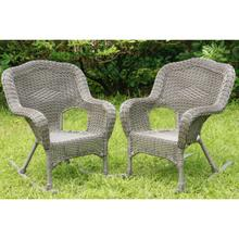 Maui Camelback Resin Wicker/ Steel Outdoor Rocking Chair (Set of 2) - Weathered Gray