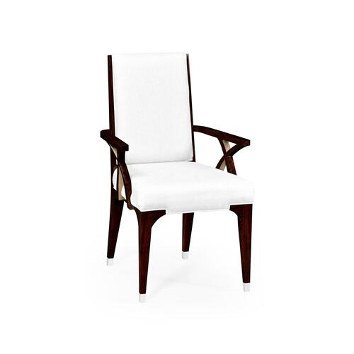 Black Eucalyptus Dining Armchair, Upholstered in COM