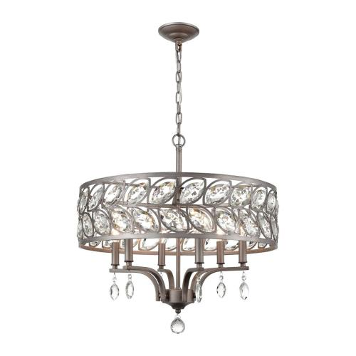 Crisanta 6-Light Chandelier in Weathered Zinc with Clear Crystal