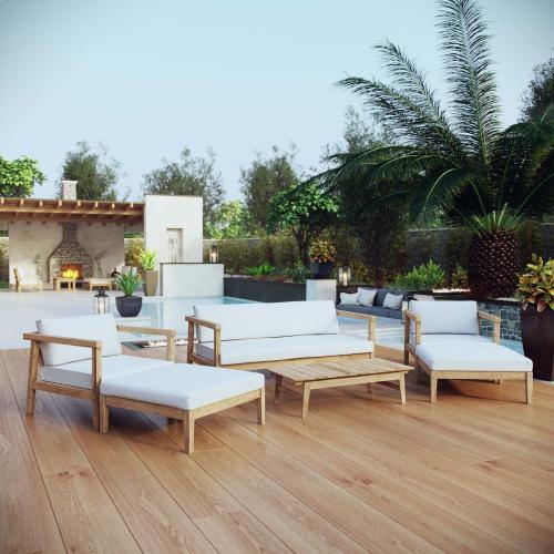 Modway - Bayport 6 Piece Outdoor Patio Teak Set in Natural White
