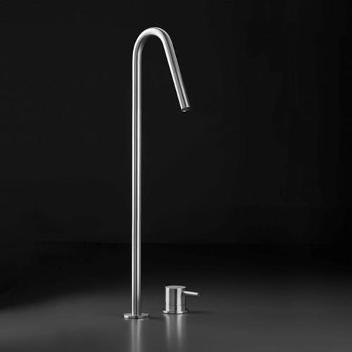 """INOX stainless steel raised deck-mount swan-neck basin spout 19"""" H, Satin finish"""