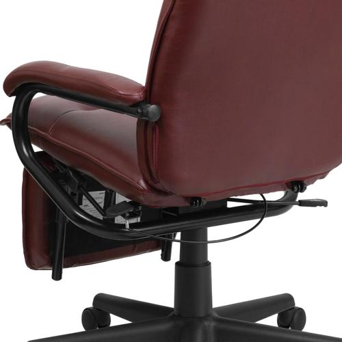 Gallery - High Back Burgundy LeatherSoft Executive Reclining Ergonomic Swivel Office Chair with Arms