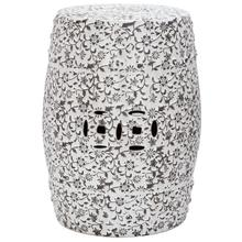 See Details - Flower & Vine Garden Stool - White And Charcoal