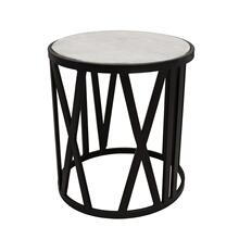"19"" Round Side Table, Black/white"