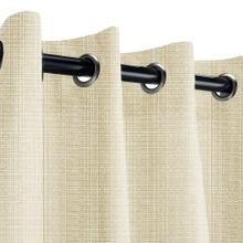 See Details - Sunbrella Linen Antique Beige Outdoor Curtain with Nickel Plated Grommets