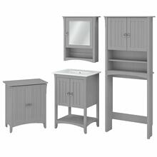 See Details - 24W Bathroom Vanity Sink with Mirror, Over Toilet Storage and Hamper, Cape Cod Gray