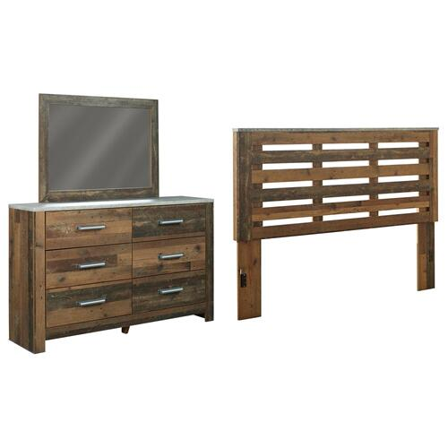 King/california King Panel Headboard With Mirrored Dresser