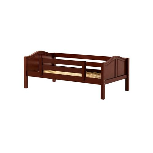 See Details - Daybed w/ Back and Front Safety Rails : Twin : Chestnut : Curved