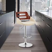 View Product - Karter Adjustable Cream Faux Leather and Walnut Wood Bar Stool with Chrome Base