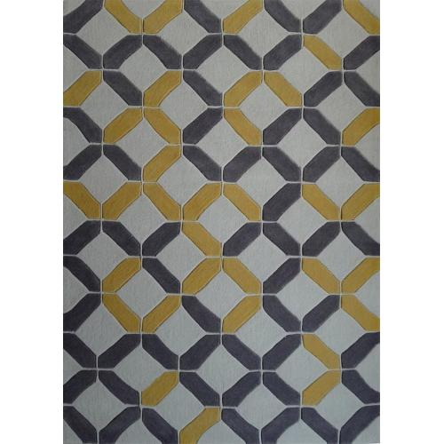 Durable Hand Tufted Transition TF60 Area Rug by Rug Factory Plus - 2' x 3' / Charcoal/Yellow
