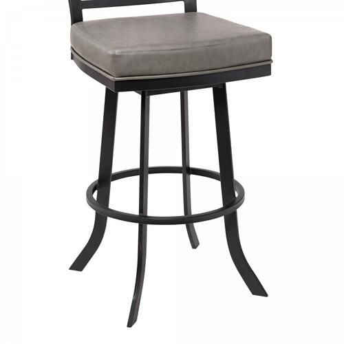 "Giselle Contemporary 30"" Bar Height Barstool in Matte Black Finish and Vintage Grey Faux Leather"