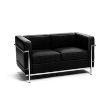 Le Corbusier LC2 Loveseat- Matching Armchair and 3 seat Sofa are also available. - Black