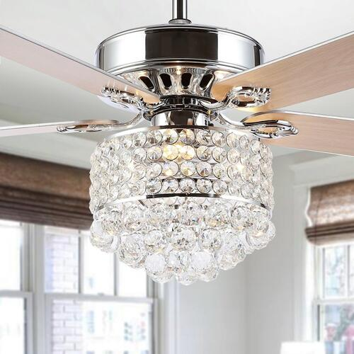 Safavieh - Pramton Ceiling Light Fan - Silver / White Maple