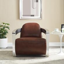 SU-AX1902-A  Aviator Armchair  Leather with Chrome Arms  Brown