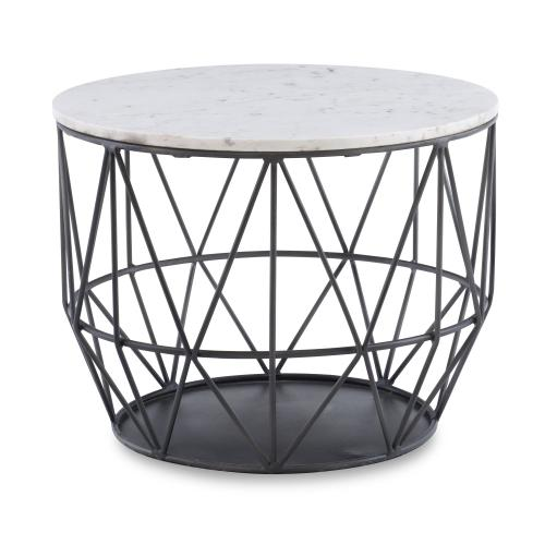 Round Premium Marble Top Side Table, Silver