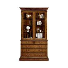 Walnut Glazed Display Cabinet with Drawers