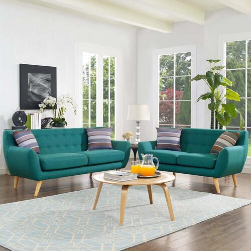 Remark 2 Piece Living Room Set in Teal