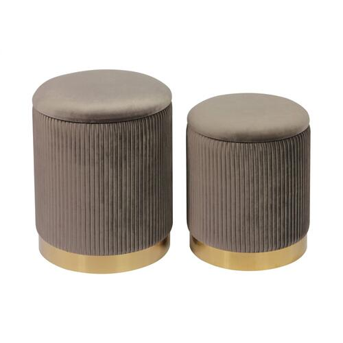 Product Image - Channeled Grey Storage Ottomans - Set of 2