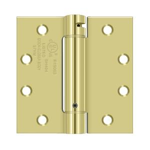 "4-1/2"" x 4-1/2"" Spring Hinge, UL Listed - Polished Brass"