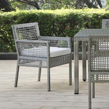Aura Outdoor Patio Wicker Rattan Dining Armchair in Gray White