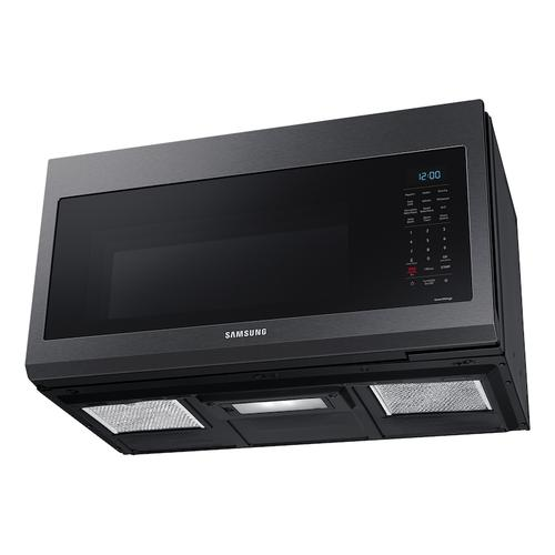 Samsung - 1.7 cu ft. Smart Over-the-Range Microwave with Convection & Slim Fry™ in Black Stainless Steel