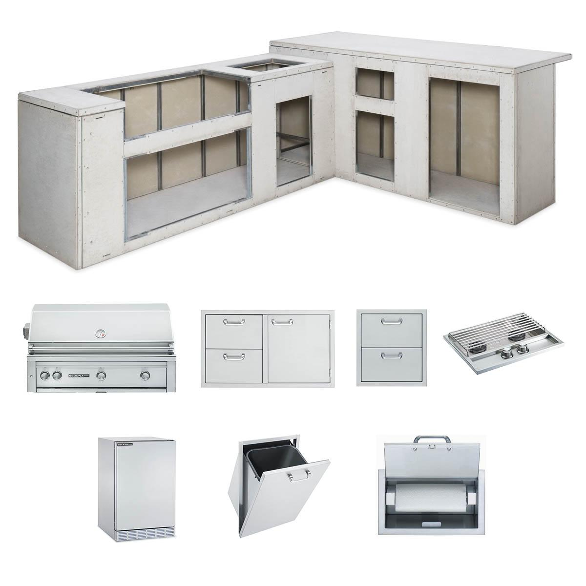 "LynxRtf Island Package Includes: L700 Grill, 42"" Access Doors, Double Side Burner, Refrigerator, Paper Towel Dispenser, Trash Center, Double Drawers"