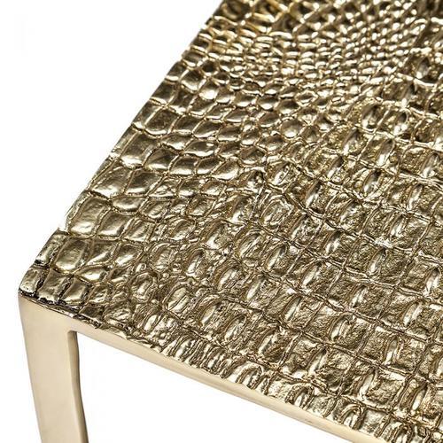 Axel Rectangular Croc Table - Brass