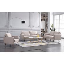 See Details - 8127 3PC BEIGE Linen Stationary Basic Living Room SET