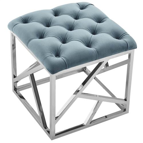 Intersperse Ottoman in Sea Blue