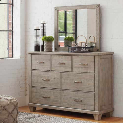 California King Panel Bed With 2 Storage Drawers With Mirrored Dresser