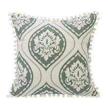 Belmont Graphic Print Throw Pillow W/ Pom Trim