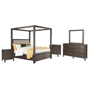 Queen Canopy Bed With 4 Storage Drawers With Mirrored Dresser and 2 Nightstands