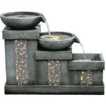 See Details - Hanover 26-In. 3-Tier Mosaic Tile Indoor or Outdoor Garden Fountain with LED Lights for Patio, Deck, Porch, HAN026FNTN-02