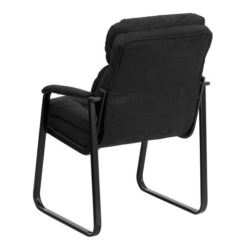 Gallery - Black Microfiber Executive Side Reception Chair with Lumbar Support and Sled Base