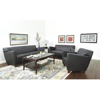 Black Bonded Leather Love Seat