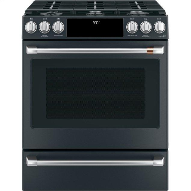 """Cafe Appliances 30"""" Smart Slide-In, Front-Control, Dual-Fuel Range with Warming Drawer"""