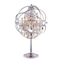 Geneva 6 light Polished nickel Table Lamp Golden Teak (Smoky) Royal Cut crystal
