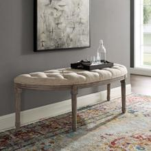 See Details - Esteem Vintage French Upholstered Fabric Semi-Circle Bench in Beige
