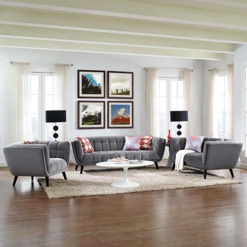 Bestow 3 Piece Performance Velvet Sofa Loveseat and Armchair Set in Gray