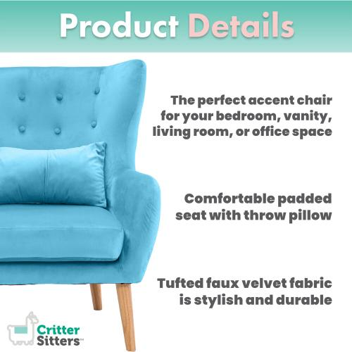 Hanover Outdoor Furniture - Critter Sitters Faux Velvet Wingback Accent Chair with Wooden Legs, Teal, CSVELCHR-TEAL